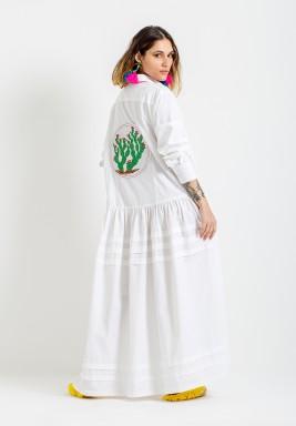 White Cactus Shirt Kaftan
