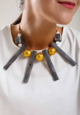 Grey bambo necklace