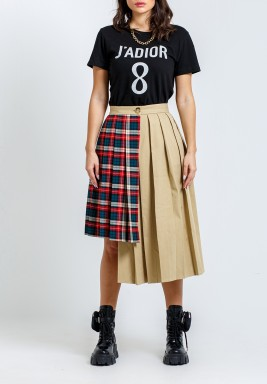 Beige Checked Asymmetric Pleated Skirt