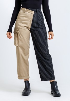 Beige & Black Striped Maxi Pants