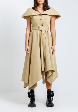 Beige Belted High-Low Coat Dress