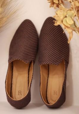 Asmar Brown Striped Slippers