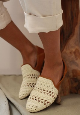Raffia Off-White & Camel Slippers