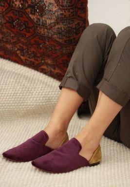 Aladdin Purple & Mustard Velvet Slippers