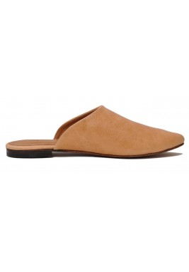 Olaa Brown Almond Toe Leather Mules