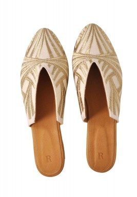 Beige Embroidered Mules - Special Edition