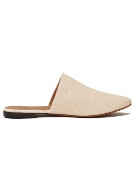 Safiaa Linen Embroidered Almond Toe Mules