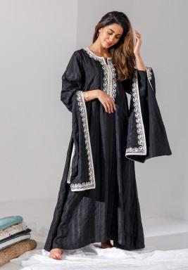 Black Embroidered Sleeves Kaftan (LIMITED EDITION)