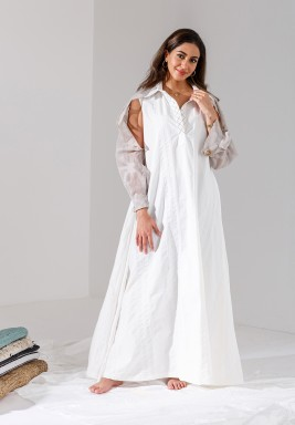 White Attached Open Sleeves Kaftan (Limited Edition)