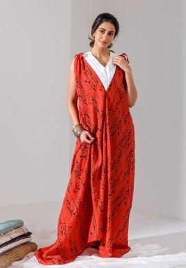 Red Printed Sleeveless Kaftan (Limited Edition)