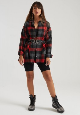 RED CHECK FRINGE SHIRT