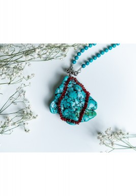 Rough Turquoise Pendant with Red Crystal
