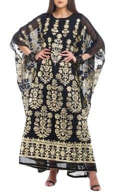 Black & Gold Embroidered Kaftan