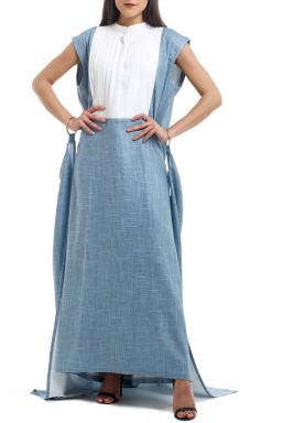Denim & White Pleated Cuffed Kaftan