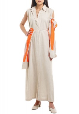 Beige & Orange Striped Sleeves Kaftan