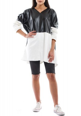 Leather with white denim blouse