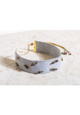 Grey Beaded Drawstring Choker