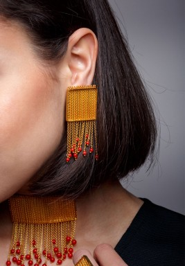 Chained Coral Earrings