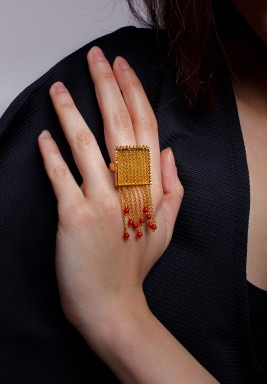Chained Coral Ring