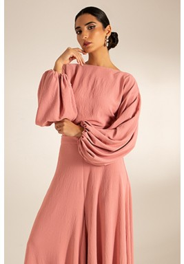 Rose Puffed Sleeves Low Back Top