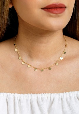 Gold-Tone Round Sequin Charm Choker