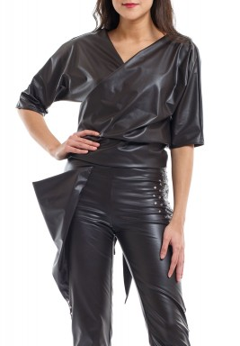 Coffee Faux Leather Top