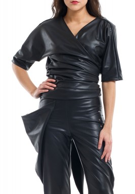 Charcoal Faux Leather Top