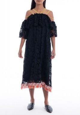 Black Rhodes Floral Tasseled Dress