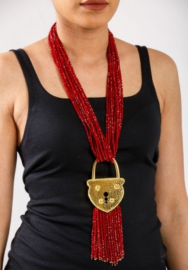 Lock Re-visit Red Necklace  -Pre order