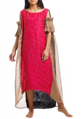 Fuchsia & Gold Embroidered Cold Shoulders Kaftan