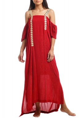 Red Striped Cold Shoulders Kaftan