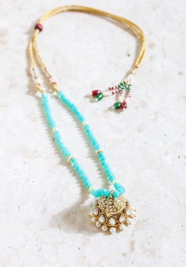 Gold-Tone & Blue Pearl Pendant Necklace