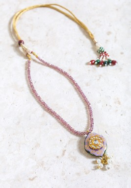 Purple Bead Circular Pendant Necklace