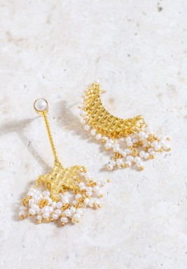Aaley Crescent & Star Gold Plated Earrings