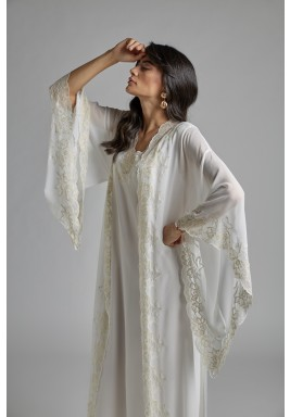 Silk Chiffon Off White Robe Set Diana