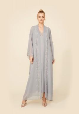 Grey Silk Robe Set