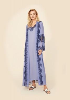 Blue Silk Chiffon Robe Set
