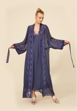 Navy Silk Chiffon Robe Set