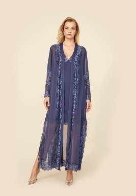 Sapphire - Silk Chiffon Robe Set with Mini Nightie