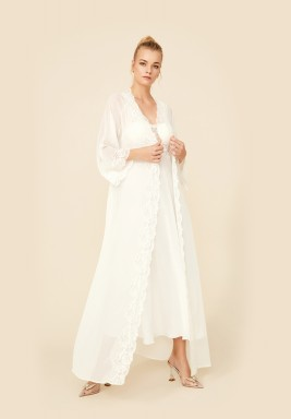 Off White Silk Chiffon Robe Set