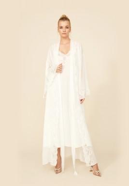 Off White Chiffon Robe Set