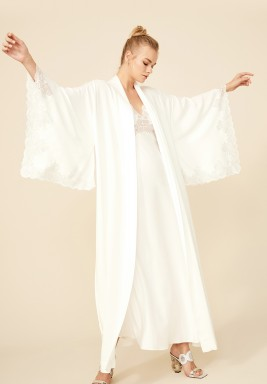 Darcy - Rayon Kimono Robe Set - Off White with Silver Lace