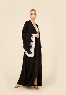 Black And Gold Rayon Robe Set