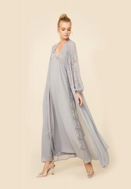 Grey Silk Chiffon Robe Set