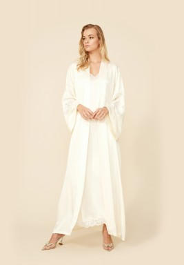 Jasmine- Rayon Long Robe Set - Off White