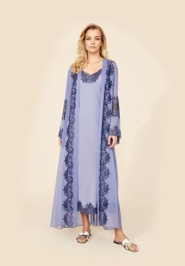 Iris - Long Silk Chiffon Robe Set with Strapped Inner Nightie
