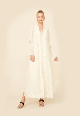 Lydia - Long Silk Chiffon Robe Set - Honey