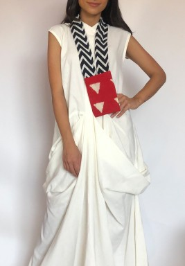 White Ruffled Kaftan With Card Holder