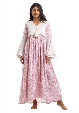 The Pompom White & Pink Kaftan