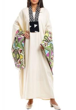 Beige Sadu Printed Sleeves Kaftan With Neck Hanger